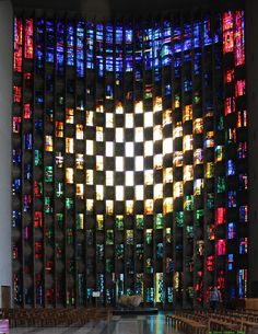 Stained Glass Baptistry Window - new Coventry Cathedral - England: by John Piper and Patrick Reyntiens