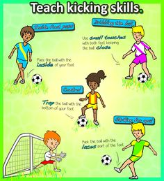 "FREE PRINTABLE -HOW TO TEACH: Kicking for soccer/football skills in Kindergarten PE lessons • KEY POINTS • • Inside foot pass - pass the ball with the INSIDE of your foot • Dribbling - use SMALL TOUCHES, keeping the ball close • Controlling - TRAP the ball underneath your foot (""squash the tomato"") • Striking at goal - kick the ball with the LACES part of your foot. Check out the FULL Kindy Kicking pack, complete with everything you need to know to teach you kids at elementary school."