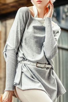 Slash Neck Batwing Sleeve Gray Sweater The Cardigans, Baggy Sweaters, Sweaters For Women, Grey Sweater, Sweater Cardigan, Batwing Sleeve, Trendy Fashion, Fashion Online, My Style