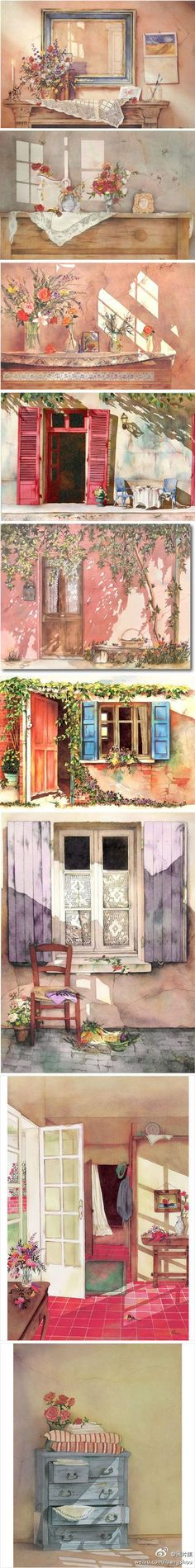 Shows beautifully the delicate mood of watercolor love it...........