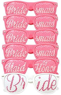 Bridal Bachelorette Party Favors  Wedding Kit  Bride  Bridesmaid Party Sunglasses  Set of 6 Pairs  Go Selfie Crazy  Themed Novelty Glasses for Memorable Moments  Fun Photos 6pcs Pink >>> Check this awesome product by going to the link at the image.Note:It is affiliate link to Amazon.