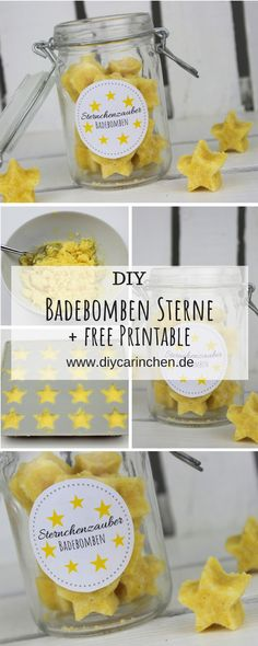 Make DIY bath bombs in star shape yourself - a great gift idea in the glass to . - DIY Badebomben in Sternenform selber machen - eine super Geschenkidee im Glas zu. DIY bath bombs in star shape make yourself - a great gift idea in . Diy Décoration, Easy Diy, Easy Crafts, Diy And Crafts, Diy Cadeau Noel, Tutorial Diy, Diy Gifts For Kids, Kids Diy, Craft Gifts