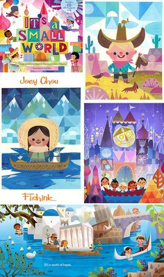 ":: Illustrations by Joey Chou for the latest ""It's a Small World"" book. Chou cites Mary Blair, the famous Disney designer illustrator who helped design sets for the original ""It's a Small World"" attraction at Disneyland, as an important influence :: Children's Book Illustration, Digital Illustration, Joey Chou, Deco Disney, Disney Artists, Disney Kunst, Vintage Disney, Small World, Disneyland"
