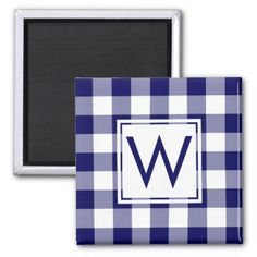 Modern Navy and White Plaid Pattern with Monogram Magnet - white gifts elegant diy gift ideas