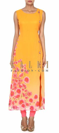 Buy this Yellow kurti in floral print and fancy buttons only on Kalki