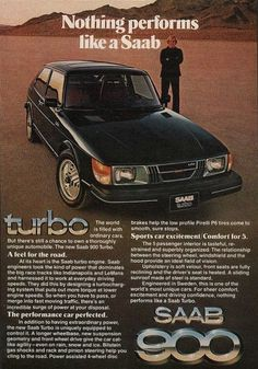 """An original 1979 advertisement for the Saab 900 Turbo. A full size photo ad of this classic car. Out on the dirt road, performance. """"Nothing performs like a Saab"""" -1979 Saab advertisement print -Measu"""