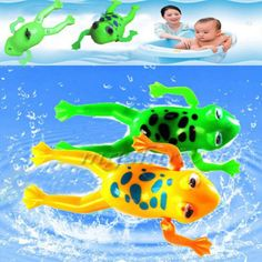 Baby Bathroom Tub Bathing Toy Clockwork Wind UP Plastic Bath Frog Pool For kids Kids Bath Toys, Kids Bath Mat, Baby Bath Toys, Kids Toys, Baby Swimming, Baby Wind, Baby Bathroom, Cartoon Toys, Frogs