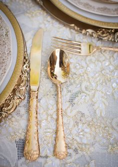 Gold Flatware | More Inspiration on SMP - http://www.StyleMePretty.com/california-weddings/orange-county/2014/01/23/downton-abbey-wedding-inspiration-at-the-french-estate/ True Bliss Photography: