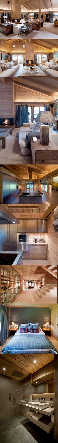 EXCELLENT LIGHTING DESIGN! Accent lighting placement, soft light Stunning chalet interior #interiordesign #dreamhome