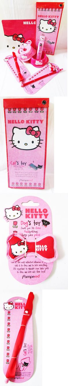 Animals Cats: Hello Kitty Discontinued Cat Kitten Pet Pink Bowls Mat Collar Toys Lot Of 8 New -> BUY IT NOW ONLY: $34.95 on eBay!
