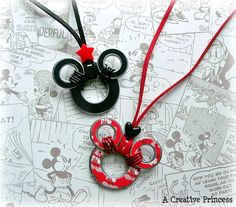 Mickey Mouse Washer Necklace - so cute,so easy.