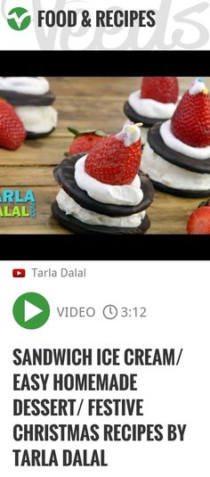 Sandwich Ice Cream/ Easy homemade dessert/ Festive christmas recipes by Tarla Dalal | http://veeds.com/i/1fzS4zZc48xpzYVe/jummy/