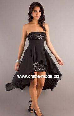 Vokuhila Kleid Abendkleid in Schwarz von www.online-mode.biz