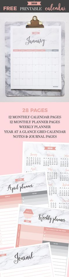 Free 2018 Marble Blush Printable Calendar from Jibe Prints. 6 high-quality PDF printable files w/ 12 monthly calendar pages, 12 monthly planner pages, weekly planner page, 2018 yearly grid calendar + notes & journal pages. 28 pages total. {subscription required}