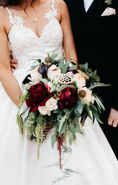 Fall bouquet, red peonies, green amaranth, peach roses, dried lotus pod, scabiosa pods, black-tie wedding // By Amy Lynn Photography