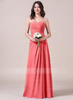 A-Line/Princess Sweetheart Floor-Length Chiffon Bridesmaid Dress With Ruffle (007058123)