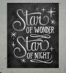 Star of Wonder Christmas Chalkboard Art Print