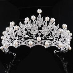 Wedding Bridal Prom Shining Rhinestones Crown Tiara Crystal Pearl Bridal Wedding Hair Tiara Head Band Accessory
