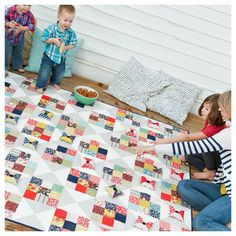 """Make Your Move game board quilt with beanbag checkers 