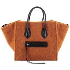 Preowned Celine Phantom Handbag Felt And Leather Detail Medium (27,945 MXN) ❤ liked on Polyvore featuring bags, handbags, tote bags, brown, totes, celine handbags, brown tote, felt tote bag, tote handbags and hand bags