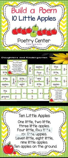 Interactive poetry center for 10 Little Apples.  Fun activity to integrate math and reading in preK, kindergarten, and 1st grade.   Sarah Griffin, Daughters and Kindergarten http://www.teacherspayteachers.com/store/sarah-griffin