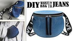 Trendy Ideas For Sewing Jeans Bag Belts Diy Jeans, Recycle Jeans, Jean Diy, Waist Purse, Denim Tote Bags, Denim Purse, Diy Vetement, Hip Bag, Pouch Bag