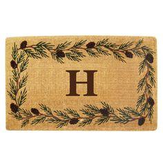 Evergreen 22 in. x 36 in. Heavy Duty Coir Monogrammed H Door Mat, Brown/Brush