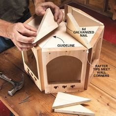 DIY Wooden Bird Feeder: A Gazebo for the Birds bird gazebo step 5 rafters Wood Bird Feeder, Bird Feeder Plans, Bird House Feeder, Bird Feeders, Carpentry Projects, Wood Projects, Bird Tables, Diy Gazebo, Wooden Gazebo