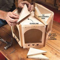 DIY Wooden Bird Feeder: A Gazebo for the Birds bird gazebo step 5 rafters Wood Bird Feeder, Bird Feeder Plans, Bird House Feeder, Bird Feeders, Carpentry Projects, Wood Projects, Bird Tables, Bird Houses Diy, Wooden Bird Houses