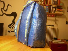Picture of IKEA hack: blue bag to backpack