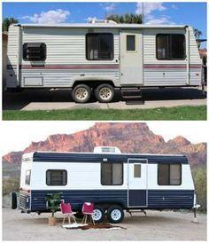 Camper Makeover: How To Repaint A Camper Or RV Camping Hacks, Rv Hacks, Rv Camping, Camping Ideas, Camping Outdoors, Camping Essentials, Hacks Diy, Camper Life, Diy Camper