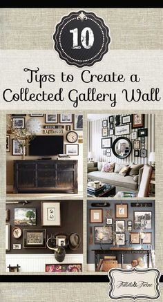 Examples and pictures of gallery walls, plus 10 tips for creating a gallery wall with a collected look!