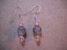 Crackle Beads and Crystal Bicone Earrings by Beads4You2008 on Etsy,