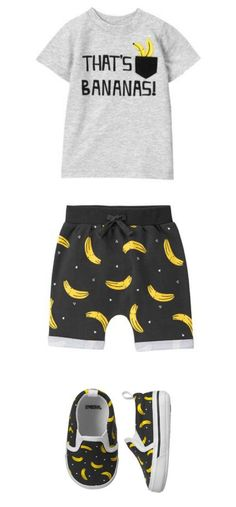 Baby boy outfit from Gymboree. Thats Bananas Tee, pants and babys first shoes. #Affiliate