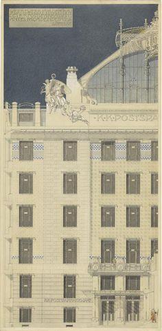 Otto Wagner, Wettbewerbsprojekt Postsparkasse, Mittelrisalit, Teilaufriss, 1903, farbige Tuschzeichnung