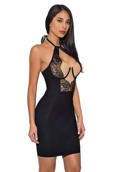 Cheap Black Lace Detail Halter Party Bandage Dress only US  34.39 c9a966a05