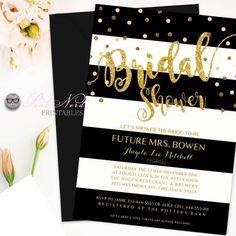 Elegant glitter gold bridal shower invitation Glitter gold black and white…