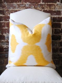 Dalesford - Duralee - yellow - 18 in square - Designer Pillow - Decorative Pillow - Throw Pillow. $47.00, via Etsy.