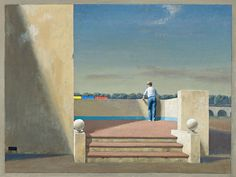 JEFFREY SMART (born 1921) STUDY FOR THE TERRACE, VARIATIONS ON A THEME, 1994 oil on canvas 45.0 x 60.0 cm signed lower left: JEFFREY SMART $140,000 – 180,00 Australian Painters, Australian Artists, Jeffrey Smart, Smart Art, Magic Realism, Urban Landscape, 20 June, Beautiful Paintings, Oil On Canvas