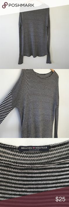 "Brandy Melville Striped Sweater Dress In excellent condition. One size fits all. Needs a slip underneath 😊  ✅ Bundle and Save ✅ 🚭 ✅ All reasonable offers will be considered 🚫 No Trading  📝 Measurements taken when laying flat Ⓜ️ Length 32"" Brandy Melville Dresses"