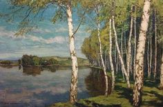 Alois Kalvoda (Czech, 1875-1934), Birch Trees, Forest Scene, oil on canvas.