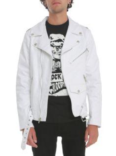 Tripp White Denim Moto Jacket