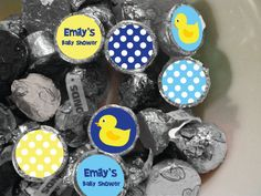 Rubber Duck Theme Baby Shower/ Birthday Printable Kiss Labels