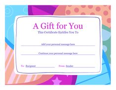 Attractive Birthday Gift Certificate Template Word 2010   Free Certificate Templates  In Gift Certificates Category