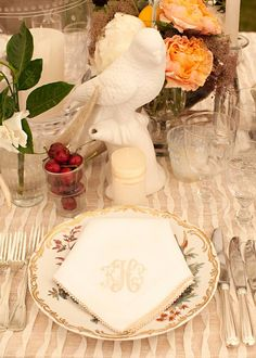 Monogrammed Napkin and Placesetting Detail - Wedding designed by Easton Events - Destination Wedding Planners with offices in Charleston, SC and Charlottesville, VA photo by Patricia Lyons