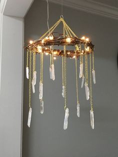 Crystal Mobile- Crystal Point Bohemian Mobile- Quartz Point Crystal Chandelier - Rustic Lighted Chandelier- Bohemian Home Decor- Tiny House #DIYHomeDecorBoho