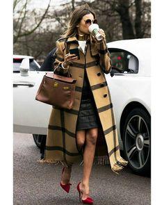 Camel grid coat