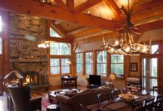 Living Room/Dining Room  www.texastimberframes.com  https://www.facebook.com/pages/Texas-Timber-Frames/72503484999