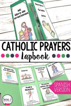 Catholic Prayers Lapbook is great for helping kids to pray and and memorize prayers. Now available in SPANISH! Catholic Prayers In Spanish, Catholic Blogs, Catholic Religious Education, Catholic Bible, Catholic Kids, Catholic Homeschooling, Catholic Saints, Teaching First Grade, Help Teaching