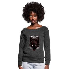 Geschenke Shop | We are freaks Wolf - Frauen Pullover mit U-Boot-Ausschnitt von Bella Custom Made Shirts, Ideal Fit, Moon Child, Heather Black, Color Negra, Fashion Prints, Fabric Weights, Street Wear, Unisex